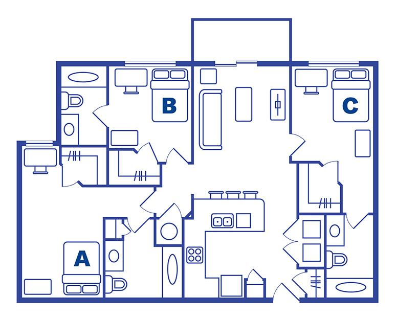 3 bedroom 3 bath apartments Orlando