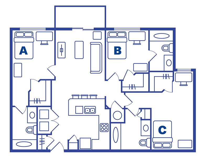 3 bedroom 3 bath apartments near Ucf